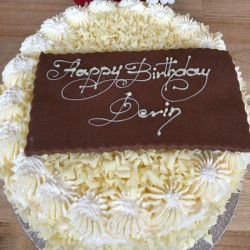 White chocolate 8 inch birthday cake